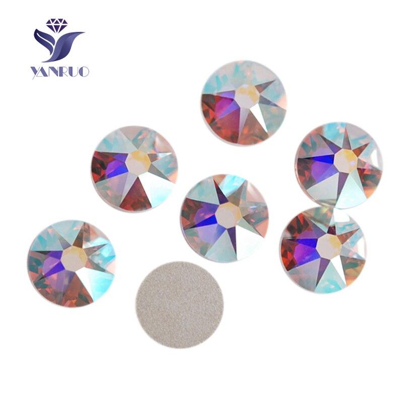 YANRUO 2088NoHF 16 Cut Crystal AB SS16 SS20 SS30 Non Hot fix Rhinestone Round Flat back Rhinestone Stones For Decoration Clothes