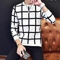 Мужская Толстовки 2016 Осенью новый мужская повседневная мода плед Толстовки плюс размер кода М-5XL черный и белый цвета