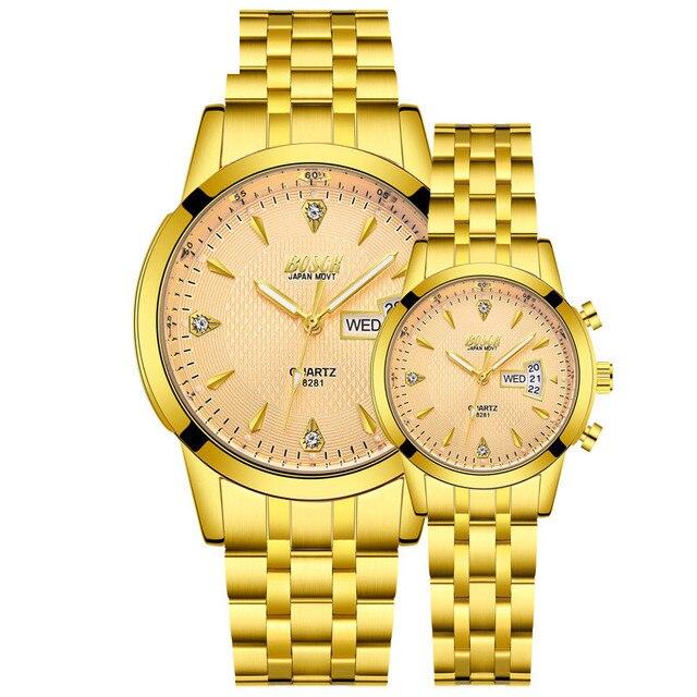 Gold Watch Men Women Couples Wirst Watches Luxury Brand Quartz Watch Analog Disp