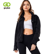 GOPLUS Denim Coat Womens Autumn Spring Casual Black Loose Turn-down Collar Jean Jacket Outwear Feminine C8101
