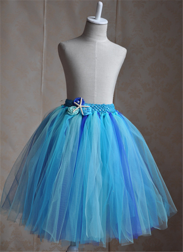 Cute Blue Tulle Pageant little Girls short Tutu Skirt with starfish decoration and Imitation Pearls