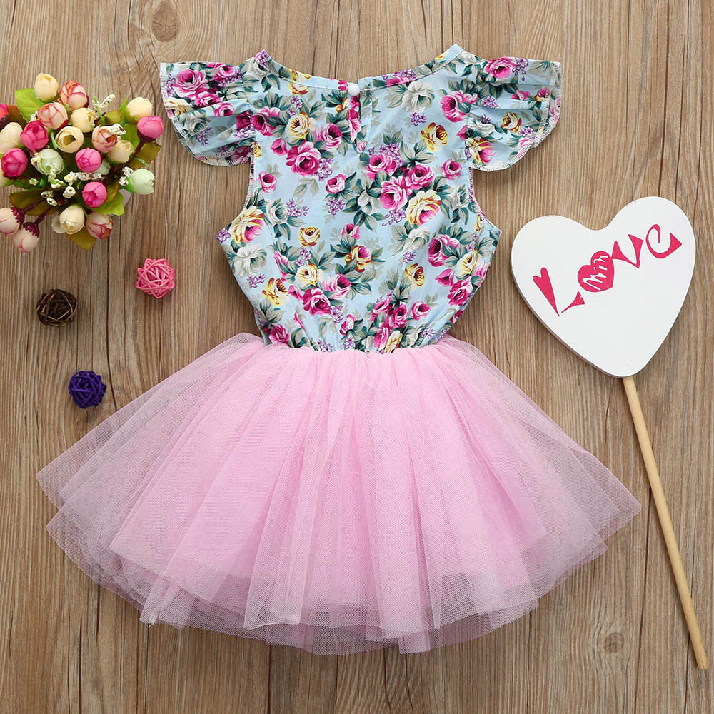 MUQGEW Toddler Kids Dresses For Girls Floral Printing Patchwork Pageant Party Princess tutu Dress Vetement Enfant Fille