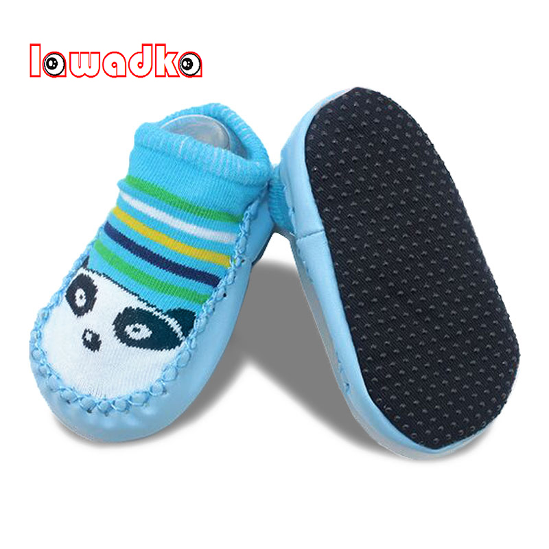 Lawadka Newborn Baby Shoes Socks Cartoon Infant Baby Gift Kids Indoor Floor Socks PU Leather Sole Non-Slip Thick Socks