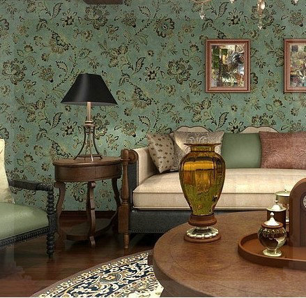 Vinyl Vintage Country Style Wallpaper For Living Room Floral Wall Papers Home Decor Dark Green