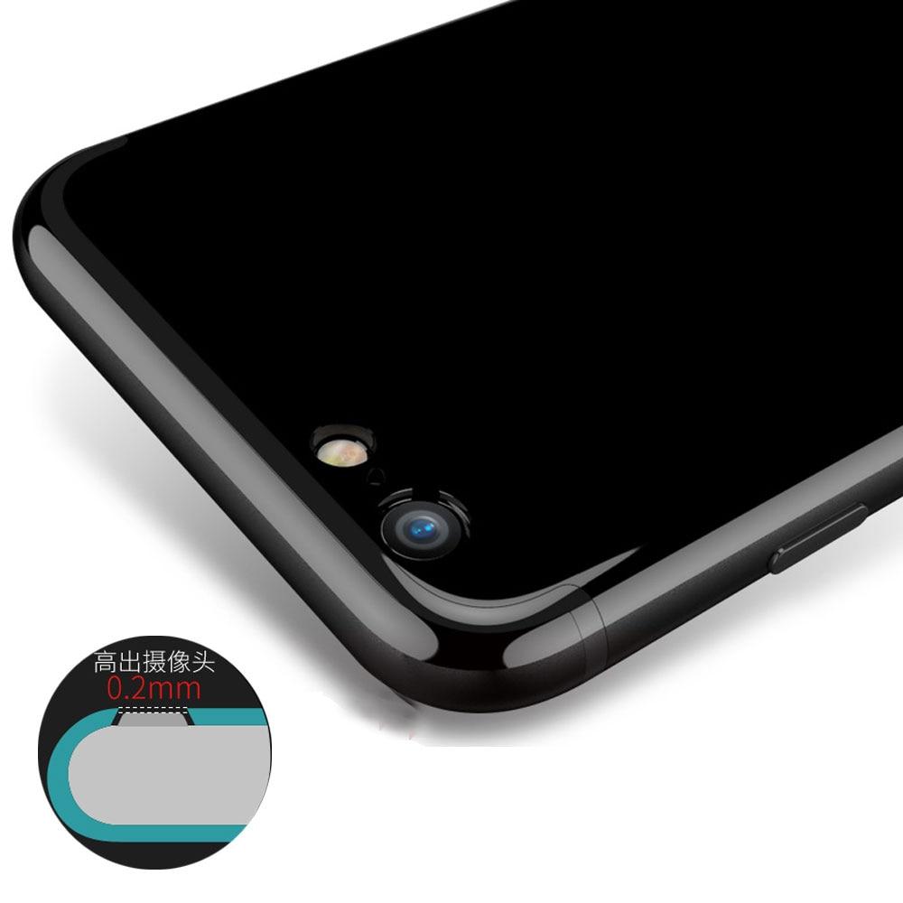 Угольно-черный мягкий силиконовый чехол для <font><b>iPhone</b></font> 7 Plus 4.7 5.5 Прочный ТПУ задняя защитная крышка Телефона Глянцевая противоударный капа принцип&#8230;