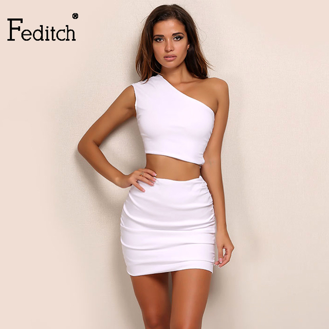 822fd481e5d8 Fedicth White Two Pieces Set Women 2017 New Arrival Irregular Miter Tight  Folded Crop Top Sexy Package Hip Skirt Women Clothing