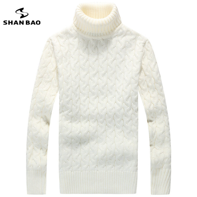 Homens camisola de gola alta de lã 65% moda contratado e lazer warmer inverno marcas de luxo de alta qualidade suéter branco preto