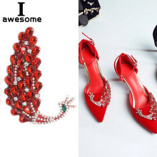 Big Red Pretty Peacock style Rhinestone Flowers Bridal Wedding Party Shoes Accessories For high Heels Sandals Boots Decorations(China)