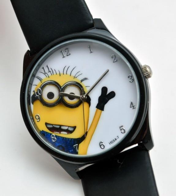 1pcs 3d eye despicable me minion cartoon watch precious milk dad cute children cartoon clock for Despicable watches