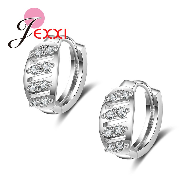 JEXXI Wedding Hoop Earrings For Women Romantic Ornaments Classic Design Small Round Loop White Gold Plated Silver AAA CZ Diamond