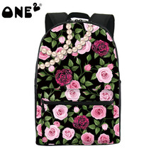 Рюкзак женщины школьные сумки, 2017 ONE2 новый дизайн моды рюкзак сумки с цветком, доставка бесплатно.