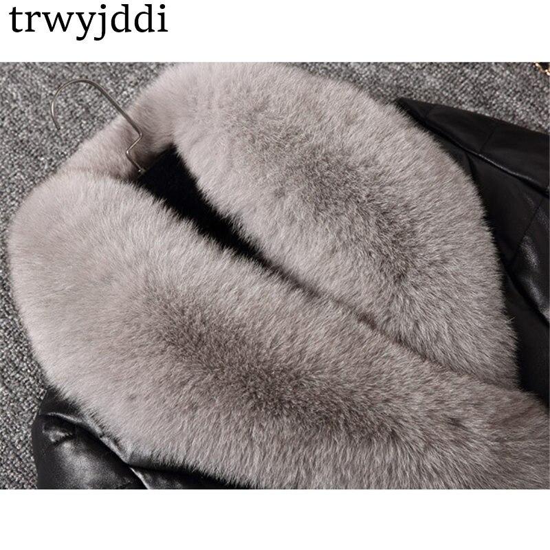 Grande Long Manteau A1204 Avec Noir Taille De Parka Renard D'hiver Col Daim Mode Outwear Cuir Grand En Fourrure Hiver 2018 Black Doudoune COTx7qRgw