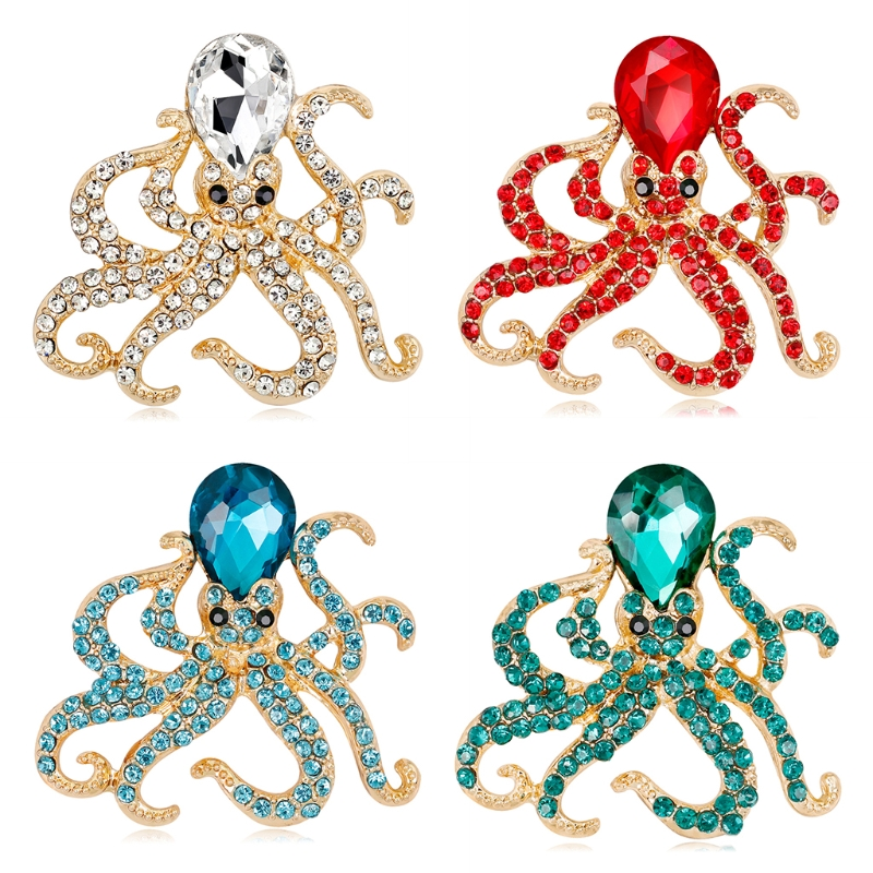 Octopus Brooch Pins Jewelry Women Men Luxury Fashion Gifts Antique Suit Corsage