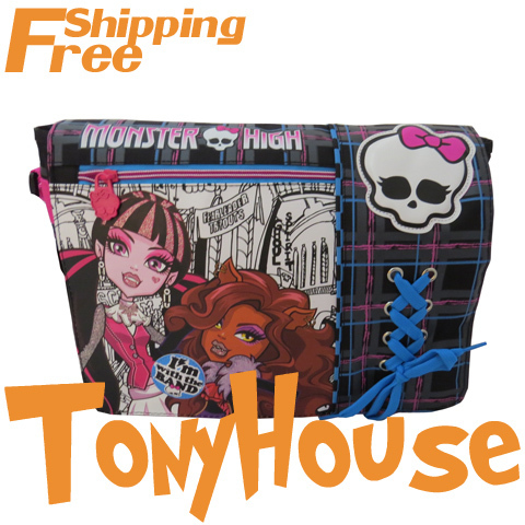 2013 Brand New Design Children Girl's Oxford Casual Messenger Bags Cartoon Monster High Fashion Shoulder Bags Free Shipping