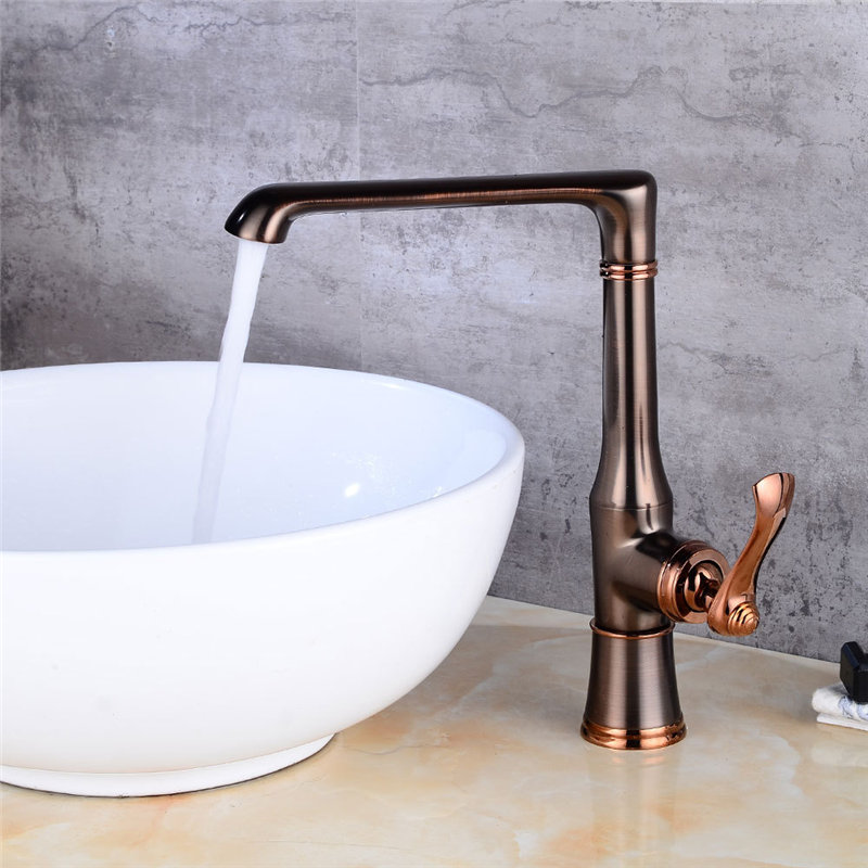 Kitchen Faucet Black Oil Brushed Brass Kitchen Faucet Deck Mounted Single Hangle Sink Mixer Tap Cold Hot kitchen faucet Torneira