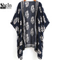 Shein 2016 Summer Beach Wear Ladies Loose Tops Navy Vintage Floral Print media manga delantera abierta rebecas ocasionales Kimono
