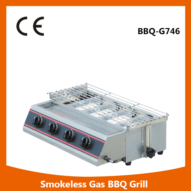 commercial table counter top stainless steel gas Smokeless bbq Grill for Kitchen equipment
