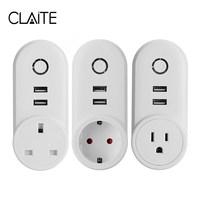 CLAITE US UK EU 2 USB Smart Wifi Socket AC 125V 10A APP Remote Control Smart
