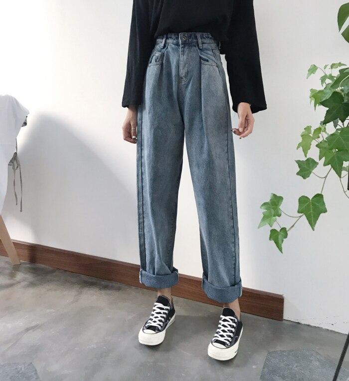 GUUZYUVIZ Loose Vintage Woman Jeans 17 Autumn Bleached Casual Boyfriend Curl Denim Wide Leg Pants Oversize High Waist Jean 3