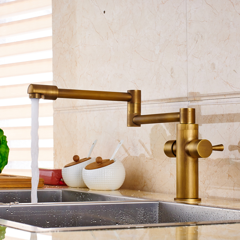 Antique Brass Dual Handle Kitchen Hot and Cold Water Taps Deck Mounted Brass Folding Stretch Neck
