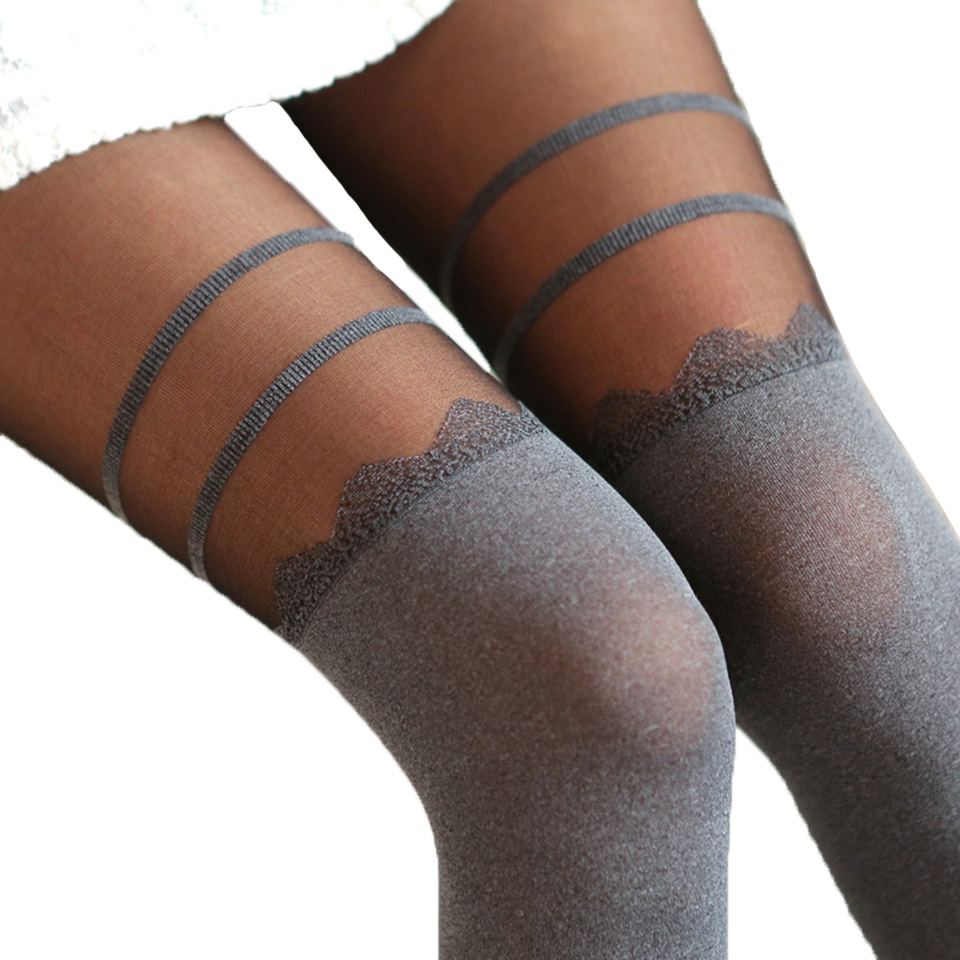 Girls Sexy Chiffon Tights Women False High Stocking Pantyhose Womens High Knee Tattoo Tights Womens Collant Femme