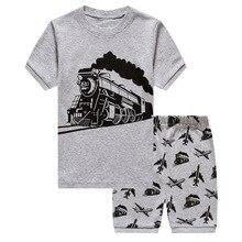 Summer Childrens Pajamas Sets Cotton Short Sleeved Baby Boys Cartoon Train Pattern Sleepwear