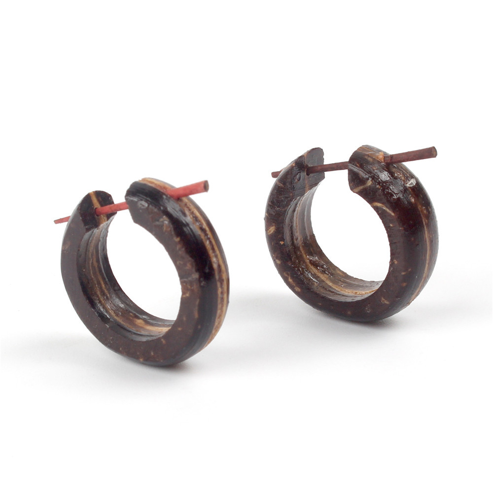 New Vintage Coffee Black Natural Wooden Circle Round <font><b>Earrings</b></font> <font><b>For</b></font> Women <font><b>Men</b></font> Handmade Brincos Ethnic Boho Body Piercing Jewelry image