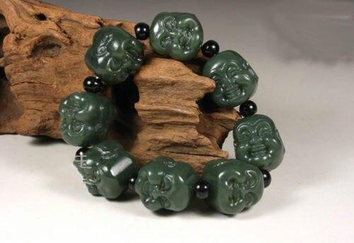 N1498 Hand carved Natural stone Buddha Head Buddhist Prayer Bead Bracelet Amulet (A0427)