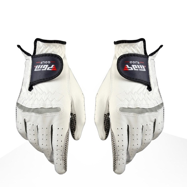 Men's Leather Golf Gloves Left Right Hand Soft Breathable Pure Sheepskin With Anti-slip granules mitten