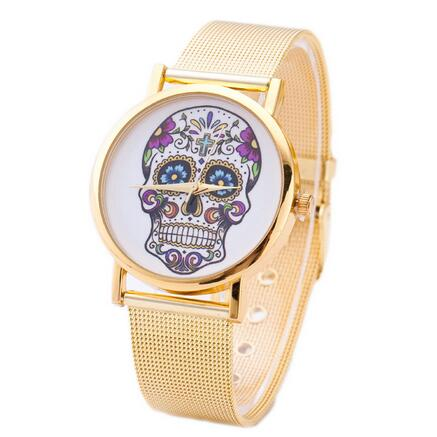 2016 new fashion women watches Gold stainless steel belt business casual brand punk style skeleton head skull quartz watch punk style skull rings mens stainless steel jewelry