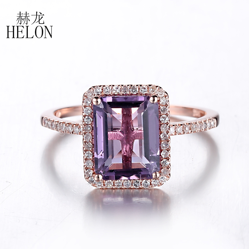 Helon Solid 14k Rose Gold 9x7mm Emerald Cut 237ct Purple Amethyst Pave Diamond  Engagement Wedding Ring Women Jewelry Fine Ring