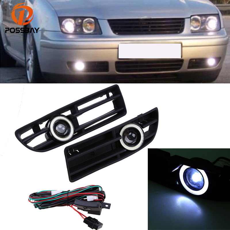 POSSBAY Car Angle Eye Fog Lights White LED Daytime Running Lights for VW Bora MK4/A4 Typ 1J 1999-2004 Foglamp Grilles With Lens special laser rear fog lamp for volkswagen vw jetta mk4 bora a4 1j 1999 2006 waterproof car tail collision warning light