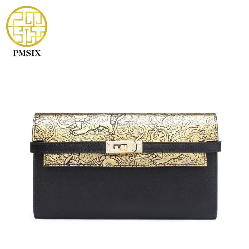 PMSIX Genuine Leather Gold Clutch Bags Embossed Vintage Womens Clutch Bags Large Capacity Wallet Women Fashion Designer Bag