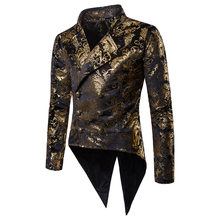 Mens Gold Paisley Double Breasted Tuxedo Blazer Slim Tailcoat Stage Singer Prom Dresses Costume Homme Wedding Groom Suit Jacket(China)