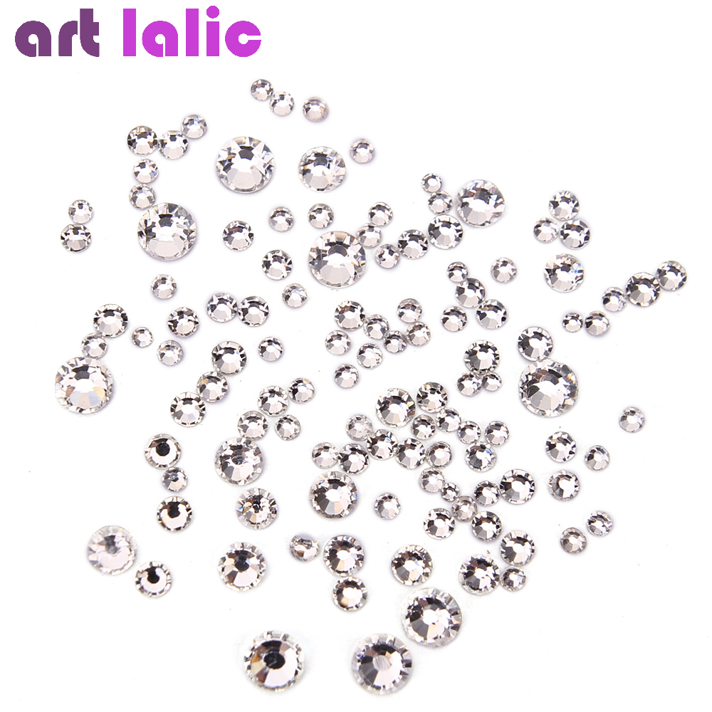 Glass Crystal Rhinestones Mix Sizes Nail Art Stones Strass Clear Silver Foil Back For Naill Diamonds Glitter Decoration Tips unfoiled mix sizes 1440pcs crystal