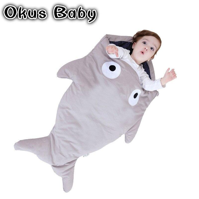 все цены на High Quality Shark newborn sleeping bag sleeping bag winter stroller bed swaddle blanket wrap bedding cute baby sleeping bag онлайн