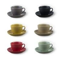 Simple European-style High-grade Ceramic Plate Cappuccino Flower Latte Coffee Tea Cup Set 300ml Xicara Copo Colorful Gift Tazas