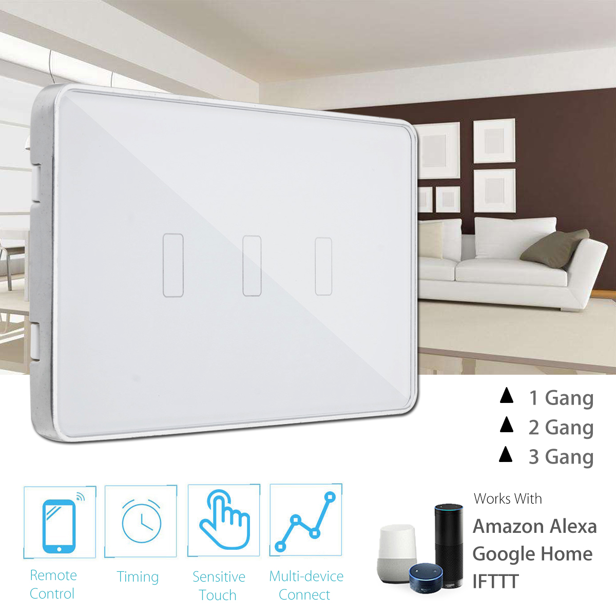 US Wireless WIFI Smart Switch Type 1 2 3 Gang Touchs Control Panel Remote Control Voice Control Work With Alexa Google Home mini wifi rgb strip light controller with music control and voice control compatible with google home