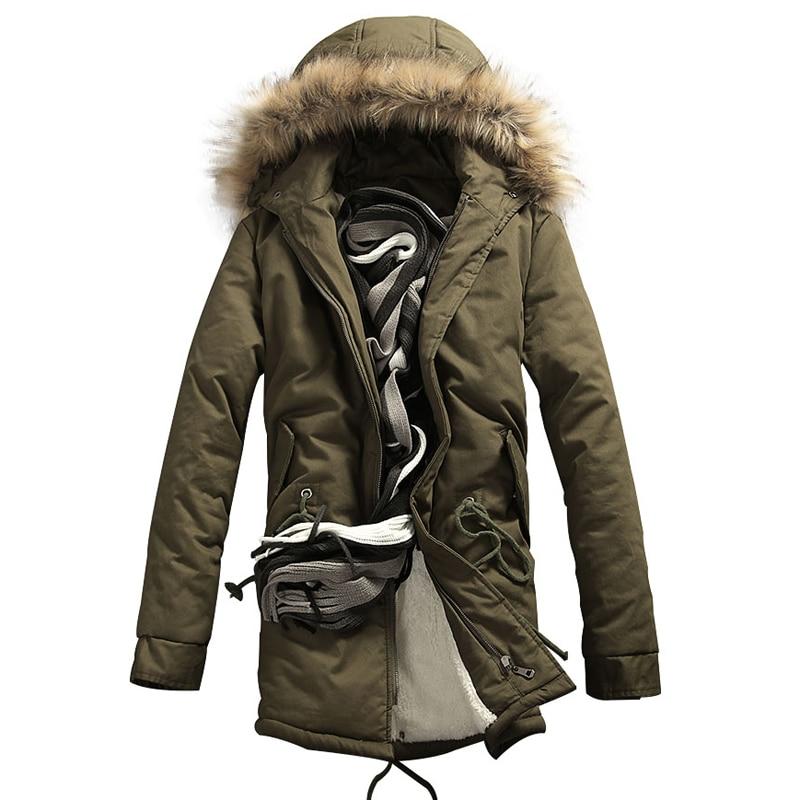 ФОТО 2016 Men Parkas Jacket Coat Men's Casual Fashion Slim Fit Winter Thickening Plus Velvet Down Parkas Jacket Cotton Coat Outwear