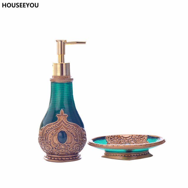 beautiful morocco decoration resin exquisite bathroom accessories set soap lotion dispenser soap dish box high quality