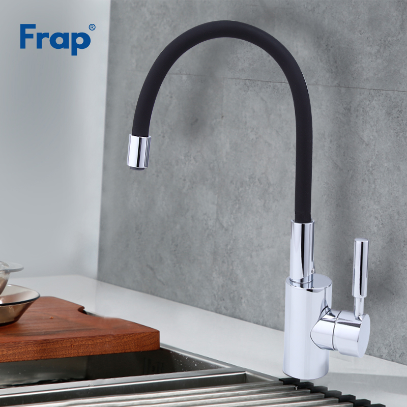 Frap New Arrival Silica Gel Nose Any Direction Rotation Black Kitchen Faucet Cold And Hot Water Mixer Torneira Cozinha F4053