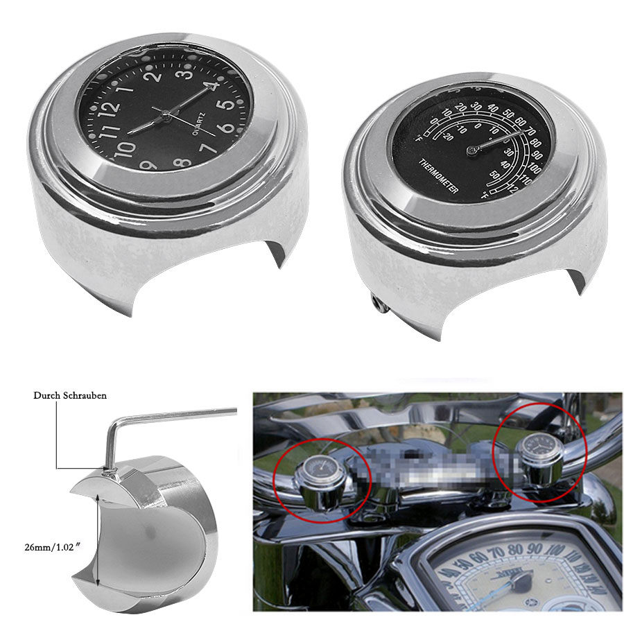 2PCS/Set Universal Waterproof 7/8 Motorcycle Handlebar Black Dial Clock Watch Temp Thermometer For YAMAHA Harley Free Shipping 21