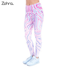 New Spring Women Leggings Zebra Pink Printing