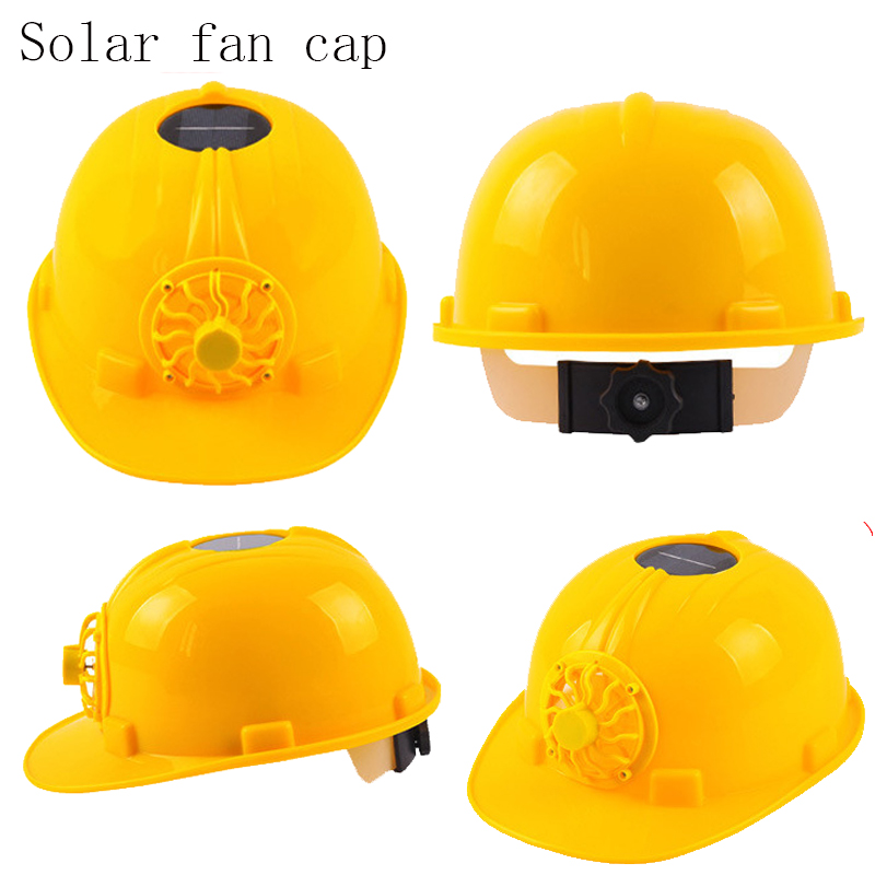 2018 Solar Power Safety Helmet Outdoors Working Hard Hat Solar Panel Cooling Fan Construction Workplace Protective Cap classic solar energy safety helmet hard ventilate hat cap cooling cool fan delightful cheap and new hot selling