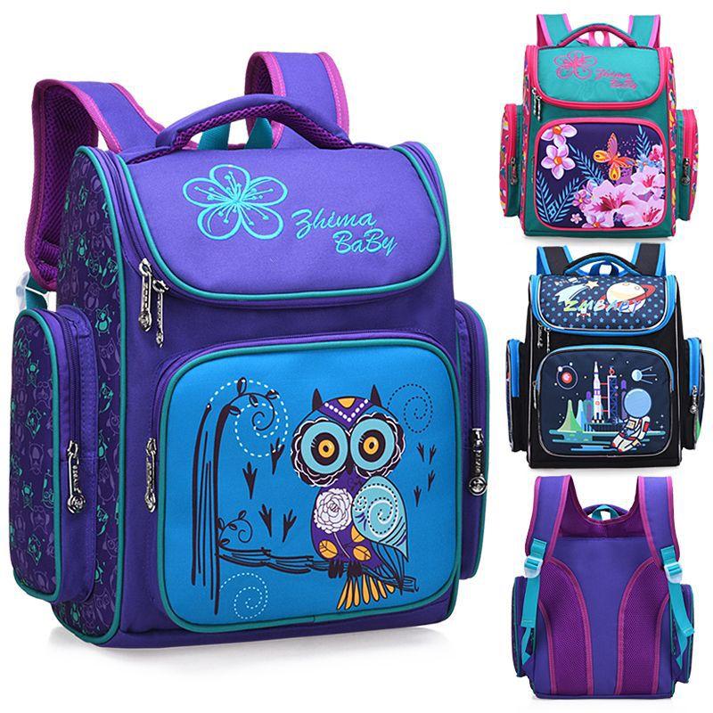 2019 Children School Backpack For Boys Animal Owl Knapsack Girls Butterfly Backpacks Kids Satchel Space School Bags Grade 1-6