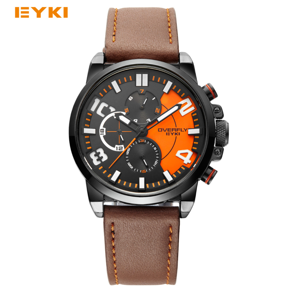 ФОТО EYKI Colorful Sub Dial Work Sport Watches For Men 2016 Luxury Watches Famous Brand Men Watch Date Week Hours Luminous Wristwatch