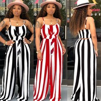 Red Striped Strap Bandage Sashes Boot Cut Sexy Women Jumpsuit Female Playsuits Overalls Party Women Romper Nightclub