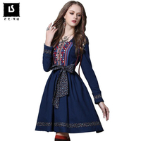 High Quality Spring Autumn Women Vintage Casual Dress Long Sleeve Retro Embroidered Belt Cotton Linen Party