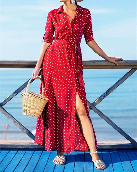 Spring Women Turn-down Collar Long Sleeve Dress Dot Prints Single-breasted Waistband Long Sundress Holiday Casual Female Clothes 1