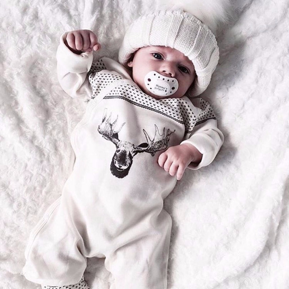 Newborn Baby Girl Boy Clothes Long Sleeve Cotton Deer Romper Jumpsuit Playsuit Outfits One Pieces Bebes Suit 0-18M 2016 fashion baby boy girl romper clothes autumn winter warm bebes playsuit zipper long sleeve jumpsuit one pieces outfits suit